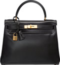 "Luxury Accessories:Bags, Hermes 28cm Black Calf Box Leather Retourne Kelly Bag with Gold Hardware. S Circle, 1989. Good to Very Good Condition. 11""..."