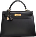 Luxury Accessories:Bags, Hermes 32cm Black Calf Box Leather Sellier Kelly Bag with Gold Hardware. J Square, 2006. Excellent Condition. 12.5...