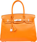 Luxury Accessories:Bags, Hermes 30cm Orange H Swift Leather Birkin Bag with PalladiumHardware. L Square, 2008. Very Good to ExcellentConditio...