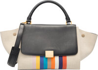 "Celine Black Leather, Beige & Multicolor Stripe Canvas Trapeze Bag Excellent Condition 11"" Width"