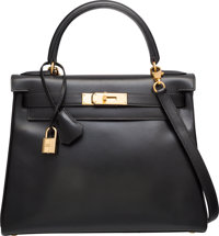 Hermes 28cm Black Calf Box Leather Retourne Kelly Bag with Gold Hardware A Square, 1997 Very Good to Excelle