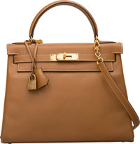 Hermes 28cm Natural Courchevel Leather Retourne Kelly Bag with Gold Hardware N Circle, 1984 Very
