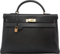 "Luxury Accessories:Bags, Hermes 40cm Black Ardennes Leather Retourne Kelly Bag with GoldHardware. T Circle, 1990. Very Good Condition. 15.5""Width..."