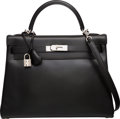 Luxury Accessories:Bags, Hermes 32cm Black Calf Box Leather Retourne Kelly Bag with Palladium Hardware. E Square, 2001. Excellent Condition. ...