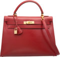 Luxury Accessories:Bags, Hermes 32cm Rouge Vif Calf Box Leather Sellier Kelly Bag with GoldHardware. A Square, 1997. Very Good to Excellent Condit...