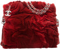 "Luxury Accessories:Bags, Chanel Red Rex Rabbit Fur Shoulder Bag . ExcellentCondition. 10"" Width x 9"" Height x 3.5"" Depth. ..."