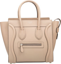 "Celine Dune Beige Leather Micro Luggage Tote Bag Pristine Condition 10"" Width x 10"" Height x 6"" Depth"