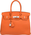 "Luxury Accessories:Bags, Hermes 30cm Orange H Togo Leather Birkin Bag with PalladiumHardware. P Square, 2012. Excellent Condition. 12""Wid..."