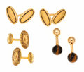 Estate Jewelry:Cufflinks, Tiger's-Eye Quartz, Gold Cuff Links, Tiffany & Co.. ... (Total:6 Items)