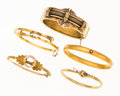 Estate Jewelry:Bracelets, Antique Sapphire, Glass, Seed Pearl, Gold, Gold-Filled Bracelets.... (Total: 5 Items)