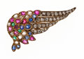 Estate Jewelry:Brooches - Pins, Victorian Diamond, Multi-Stone, Glass, Gold Brooch. ...