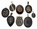 Estate Jewelry:Pendants and Lockets, Victorian Diamond, Seed Pearl, Black Onyx, Enamel, Gold, SilverMourning Lockets. ...
