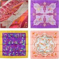 """Hermes Set of Four; 90cm Multicolor Silk Scarves Very Good to Excellent Condition 36"""" Width x 36"""""""