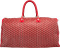 "Luxury Accessories:Travel/Trunks, Goyard 65cm Red Goyardine Canvas Crosiere Bag. Very Good toExcellent Condition. 25"" Length x 12"" Height x 12""Depth..."