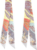 """Luxury Accessories:Accessories, Hermes Set of Two; Multicolor Silk Twilly Scarves. PristineCondition. 2"""" Width x 34"""" Length. ..."""