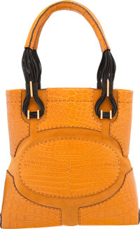 "VBH Orange Crocodile & Suede Tote Bag Very Good to Excellent Condition 11"" Width x 11"" Height x 4"