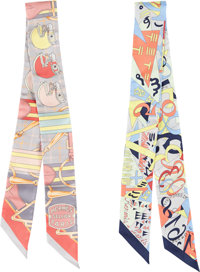 """Hermes Set of Two; Multicolor Silk Twilly Scarves Pristine Condition 2"""" Width x 34"""" Length"""
