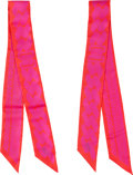 "Luxury Accessories:Accessories, Hermes Set of Two; Pink & Red Silk Twilly Scarves. PristineCondition. 2"" Width x 34"" Length. ..."
