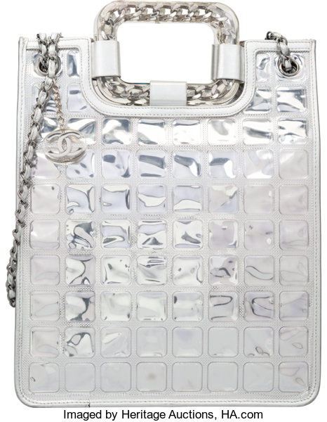 6b282df24d81 ... Luxury Accessories:Bags, Chanel Metallic Silver Leather & PVC Ice  Cube Tote Bag ...