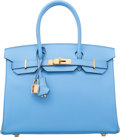"Luxury Accessories:Bags, Hermes 30cm Blue Paradis Epsom Leather Birkin Bag with GoldHardware. R Square, 2014. Pristine Condition. 12""Widt..."
