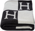 "Luxury Accessories:Home, Hermes Ecru & Gris Fonce Wool and Cashmere Avalon Blanket. Pristine Condition. 53"" Width x 67"" Length. ..."