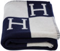 "Luxury Accessories:Home, Hermes Ecru & Indigo Wool and Cashmere Avalon Blanket.Pristine Condition. 53"" Width x 67"" Length. ..."