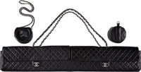 Chanel Limited Edition Black Quilted Lambskin Leather & Black Carbon Fiber Fly Fishing Set, 4/5 Pristine Condit