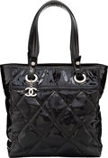"""Luxury Accessories:Bags, Chanel Black Quilted Patent Leather Paris-Biarritz Tote Bag.Good Condition. 10"""" Width x 1"""" Height x 4.5"""" Depth...."""