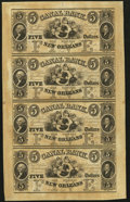 Obsoletes By State:Louisiana, New Orleans, LA- Canal Bank. $5-$5-$5-$5 18__ Uncut Sheet. ...