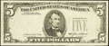 Error Notes:Third Printing on Reverse, Fr. 1978-E $5 1985 Federal Reserve Note. Very Fine.. ...