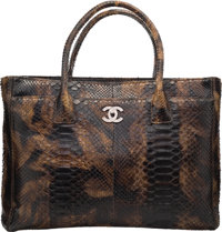 """Chanel Green & Brown Python Cerf Tote Bag Very Good to Excellent Condition 16"""" Width x 11"""" Height"""