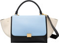 "Luxury Accessories:Bags, Celine Blue, Beige & Black Leather Trapeze Bag. ExcellentCondition. 12"" Width x 9"" Height x 7"" Depth. ..."