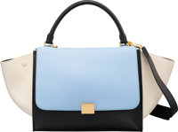 "Celine Blue, Beige & Black Leather Trapeze Bag Excellent Condition 12"" Width x 9"" Height x 7"" Dep..."