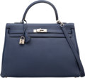 Luxury Accessories:Bags, Hermes 35cm Blue Sapphir Clemence Leather Retourne Kelly Bag with Palladium Hardware. Q Square, 2013. Very Good to Exc...
