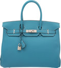 Luxury Accessories:Bags, Hermes 35cm Blue Jean Togo Leather Birkin Bag with PalladiumHardware. I Square, 2005. Excellent to PristineCondition...