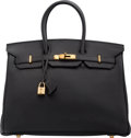 "Luxury Accessories:Bags, Hermes 35cm Black Togo Leather Birkin Bag with Gold Hardware. G Square, 2003. Excellent Condition. 14"" Width x 10""..."