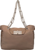 """Luxury Accessories:Bags, Chanel Taupe Leather Shoulder Bag. Very Good Condition. 13"""" Width x 10"""" Height x 6"""" Depth. ..."""