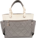 """Luxury Accessories:Bags, Chanel Gray & White Canvas Paris-Biarritz Tote Bag. VeryGood Condition. 14"""" Width x 12"""" Height x 6"""" Depth. ..."""