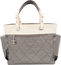 """Chanel Gray & White Canvas Paris-Biarritz Tote Bag Very Good Condition 14"""" Width x 12"""" Height x 6"""" De..."""