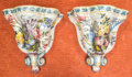 Paintings, A Pair of Continental Painted Porcelain Floral Wall Brackets, early to mid 20th century. Marks: Nove (asterisks). 12-1/4... (Total: 2 Items)