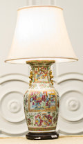 Asian:Chinese, A Chinese Famille Rose Porcelain Vase Mounted as a Lamp. 32-3/4inches high (83.2 cm). ...