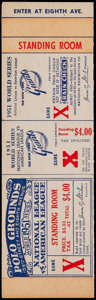 Baseball Collectibles:Tickets, 1951 World Series Game X Proof Ticket. ...