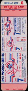 Baseball Collectibles:Tickets, 1951 World Series Game 7 Proof Ticket. ...