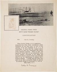 Kitty Hawk Wright Flyer: Piece of Original Fabric on a Presentation Certificate