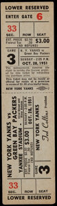 Football Collectibles:Tickets, 1951 Green Bay Packers vs. New York Yanks Full Ticket....