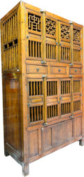 Asian:Chinese, A Large Chinese Pine and Mixed Woods Cabinet, early 20th century.84-1/2 h x 50 w x 24 d inches (214.6 x 127 x 61.0 cm). ...