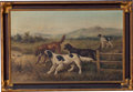 Fine Art - Painting, European, A Giovanni or Giuseppe Milone Oil on Canvas: Hunting Dogs,late 19th century. Signed to lower left: G. Milone. 2...