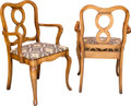 Furniture , A Pair of French Provincial-Style Wooden Armchairs, 20th century. 35 h x 21-3/4 w x 18-1/2 d inches (88.9 x 55.2 x 47.0 cm)... (Total: 2 Items)