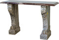 Furniture : French, A Fine Empire-Style Carved Marble Console, 19th century. 34 h x55-1/4 w x 15-3/4 d inches (86.4 x 140.3 x 40.0 cm). ...