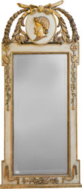 Decorative Arts, French:Other , An Empire-Style Painted and Giltwood Mirror with MedallionPortrait, early 20th century. 69 inches high x 29-1/4 incheswide...